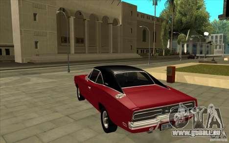 Dodge Charger R/T 1969 für GTA San Andreas zurück linke Ansicht