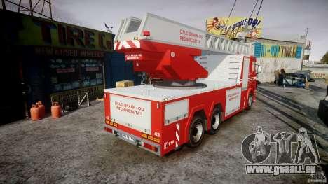 Scania Fire Ladder v1.1 Emerglights red [ELS] pour GTA 4 est une vue de l'intérieur