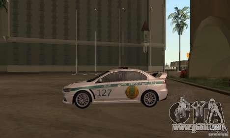 Mitsubishi Lancer Evolution X Polizei von Kasach für GTA San Andreas zurück linke Ansicht