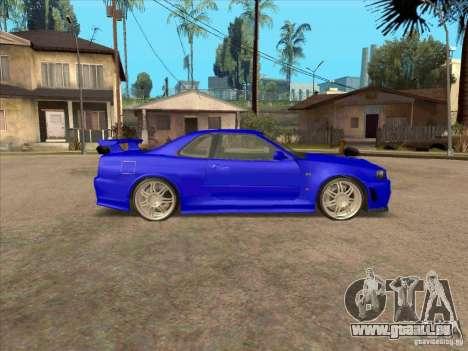 Nissan Skyline GT-R R34 from FnF 4 v.2.0 pour GTA San Andreas sur la vue arrière gauche