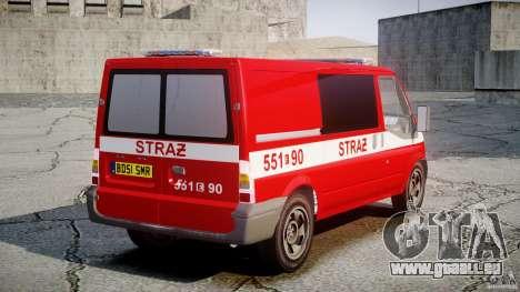 Ford Transit Polish Firetruck [ELS] pour GTA 4 Vue arrière de la gauche