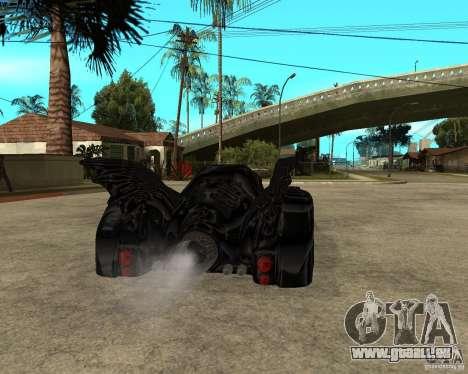 Batmobile pour GTA San Andreas sur la vue arrière gauche
