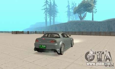 Mazda RX-8 Tuning pour GTA San Andreas sur la vue arrière gauche