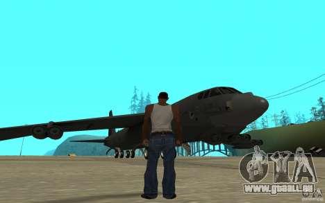 Boeing B-52 Stratofortress pour GTA San Andreas sur la vue arrière gauche