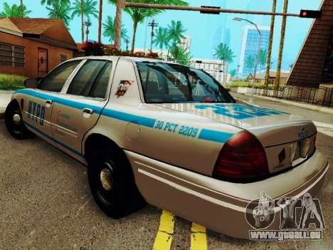 Ford Crown Victoria 2003 NYPD White pour GTA San Andreas sur la vue arrière gauche