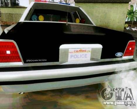 Ford Crown Victoria LTD 1991 SFPD pour GTA San Andreas vue de droite