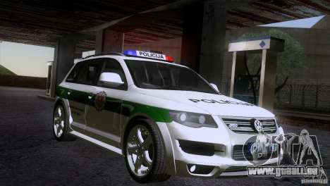 Volkswagen Touareg Policija für GTA San Andreas rechten Ansicht