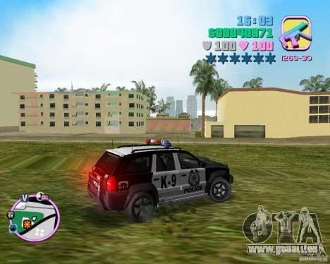 Jeep Grand Cheeroke COPSUV FROM NFS:MW für GTA Vice City linke Ansicht