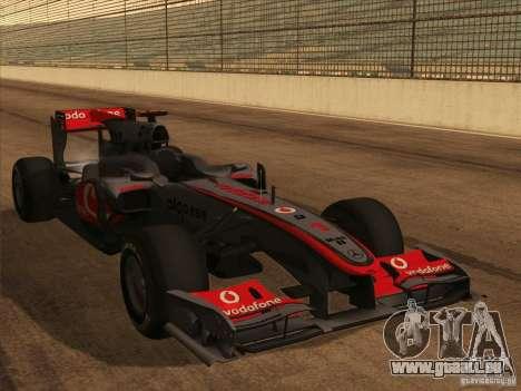 McLaren MP4-25 F1 pour GTA San Andreas vue de côté