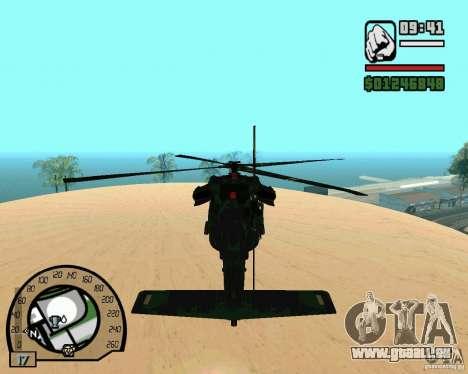 Blackhawk UH60 Heli für GTA San Andreas Rückansicht