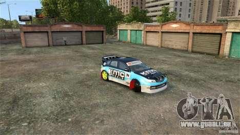 Subaru Impreza WRX STI Rallycross KMC Wheels pour GTA 4 vue de dessus
