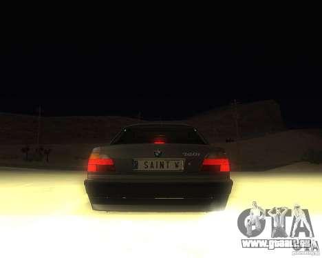 BMW 740i Update für GTA San Andreas zurück linke Ansicht