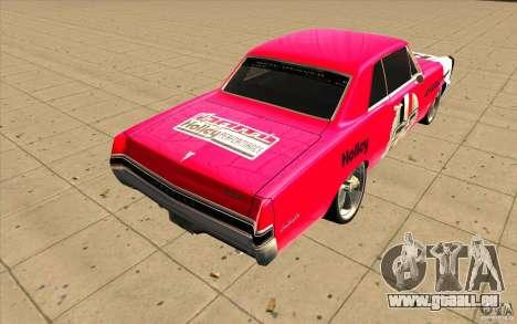 Pontiac GTO 1965 NFS Pro Street nouveaux vinyls pour GTA San Andreas sur la vue arrière gauche