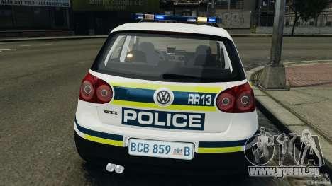 Volkswagen Golf 5 GTI South African Police [ELS] pour GTA 4 est une vue de dessous