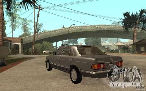 Mercedes Benz W126 560 1990 pour GTA San Andreas sur la vue arrière gauche
