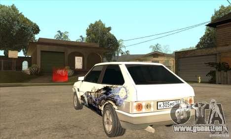 VAZ 2108 à l'écoute pour GTA San Andreas sur la vue arrière gauche
