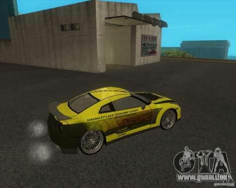 Nissan GTR35 pour GTA San Andreas sur la vue arrière gauche