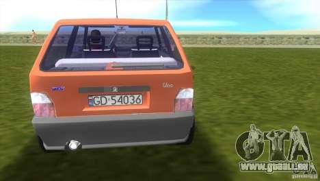 Fiat Uno pour GTA Vice City sur la vue arrière gauche