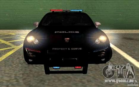Porsche Cayenne Turbo 958 Seacrest Police pour GTA San Andreas sur la vue arrière gauche