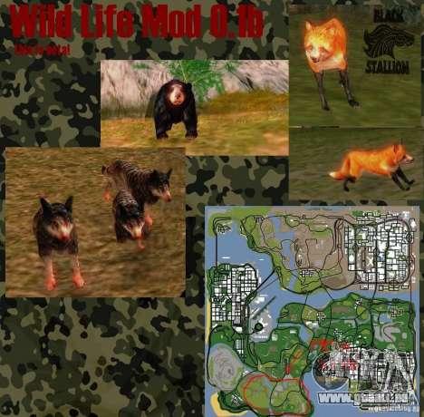 Vie sauvage Mod 0,1 (b) la faune pour GTA San Andreas