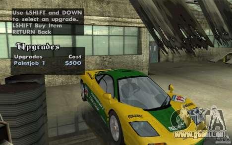 Mclaren F1 road version 1997 (v1.0.0) für GTA San Andreas Rückansicht