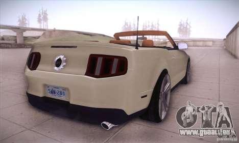 Ford Mustang 2011 Convertible pour GTA San Andreas vue de droite
