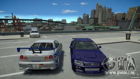 Nissan Skyline GT-R R34 Fast and Furious 4 für GTA 4 obere Ansicht