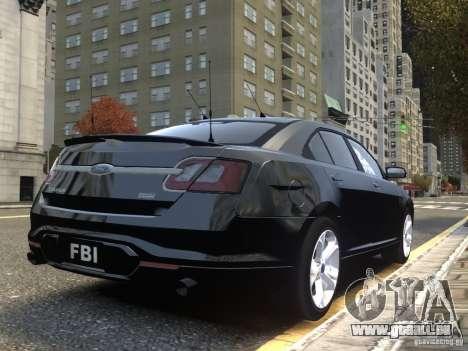 Ford Taurus FBI 2012 pour GTA 4 Vue arrière