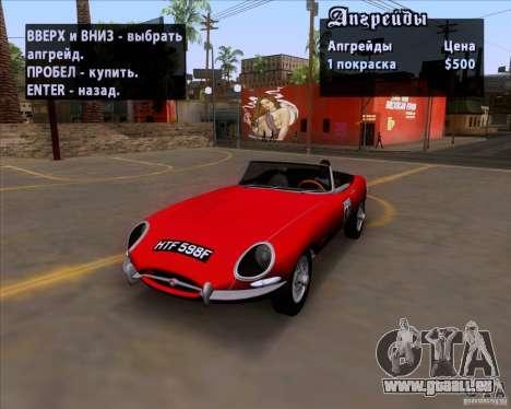 Jaguar E-Type 1966 pour GTA San Andreas vue intérieure