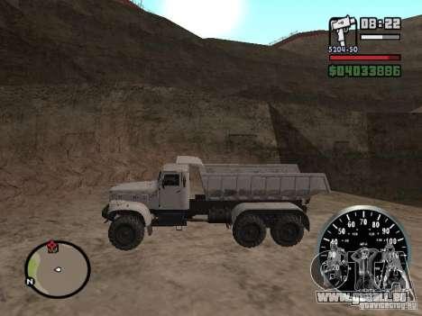 Camion à benne basculante KRAZ 225 pour GTA San Andreas sur la vue arrière gauche