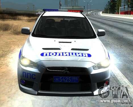 Mitsubishi Lancer Evolution X PPP Polizei für GTA San Andreas Rückansicht