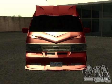 Toyota Hiace Vanning pour GTA San Andreas vue intérieure