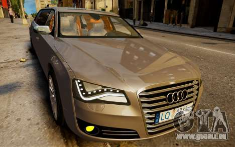 Audi A8 limousine für GTA 4 hinten links Ansicht