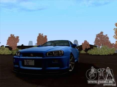 Nissan Skyline GTR R34 pour GTA San Andreas laissé vue