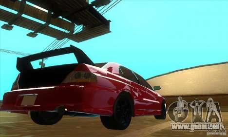 Mitsubishi Lancer Evolution IX Carbon V1.0 pour GTA San Andreas laissé vue