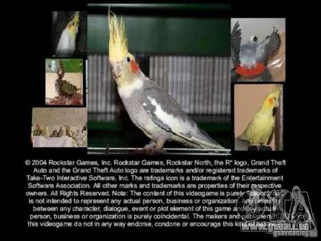 Bêta de Boot écran perroquet perroquets pour GTA San Andreas