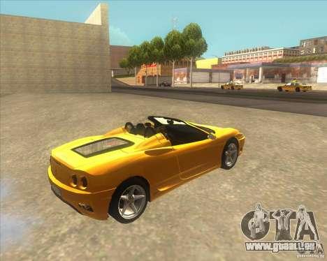 Ferrari 360 Spider pour GTA San Andreas laissé vue