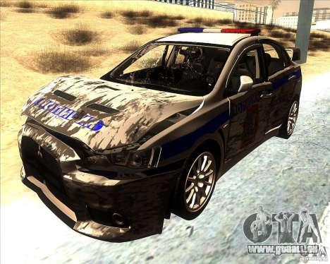 Mitsubishi Lancer Evolution X PPP Polizei für GTA San Andreas obere Ansicht