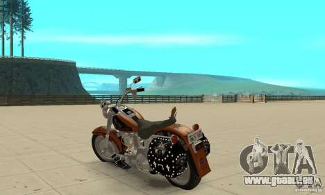 Harley Davidson FLSTF (Fat Boy) v2.0 Skin 2 pour GTA San Andreas sur la vue arrière gauche