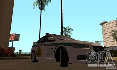 Mitsubishi Lancer Evolution X Polizei von Kasach für GTA San Andreas rechten Ansicht
