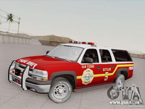 Chevrolet Suburban SFFD für GTA San Andreas Unteransicht