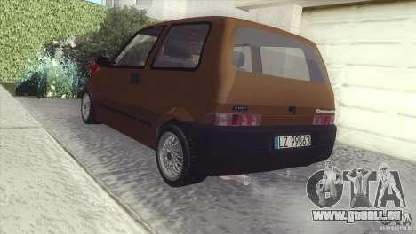 Fiat Cinquecento pour GTA San Andreas sur la vue arrière gauche