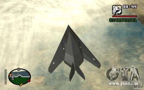 Lockheed F-117A Nighthawk für GTA San Andreas zurück linke Ansicht
