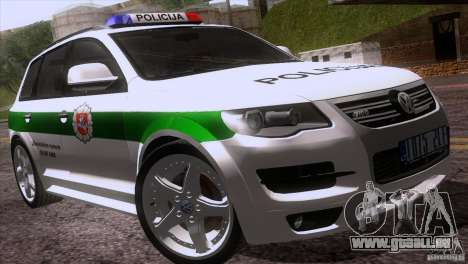 Volkswagen Touareg Policija für GTA San Andreas obere Ansicht