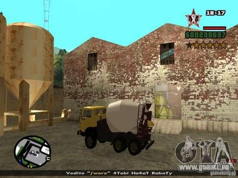 KAMAZ 53112 bétonnière pour GTA San Andreas sur la vue arrière gauche