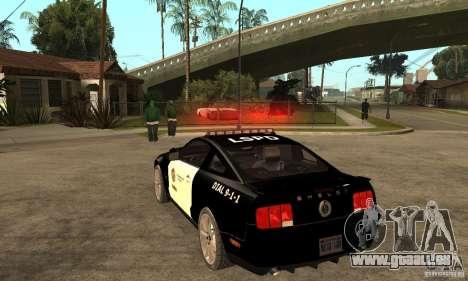 Shelby GT500KR Edition POLICE für GTA San Andreas zurück linke Ansicht