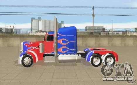 Peterbilt 379 Optimus Prime pour GTA San Andreas laissé vue