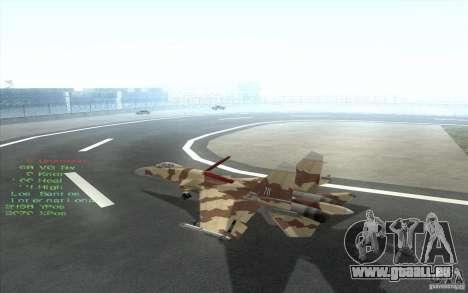 Le Su-37 Terminator pour GTA San Andreas vue intérieure