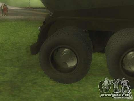 Remorque ciment TC-12 pour GTA San Andreas vue intérieure