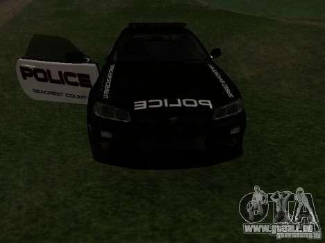 Nissan Skyline R34 Police pour GTA San Andreas vue de côté